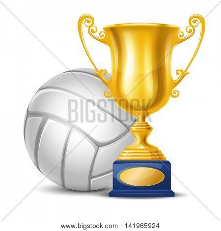 Realistic Golden Trophy Cup and Volleyball Ball. Isolated on White Background. Winner Cup. Vector Illustration