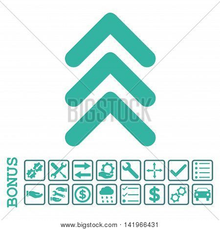 Triple Arrowhead Up icon with bonus pictograms. Vector style is flat iconic symbol, cobalt and cyan colors, white background. Bonus style is bicolor square rounded frames with symbols inside.