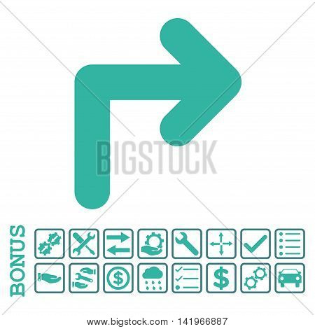 Turn Right icon with bonus pictograms. Vector style is flat iconic symbol, cobalt and cyan colors, white background. Bonus style is bicolor square rounded frames with symbols inside.