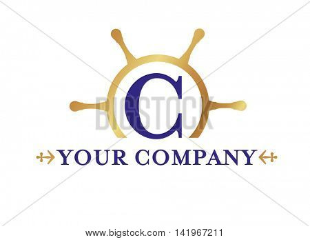 steering wheel silhouette shipping company logo template