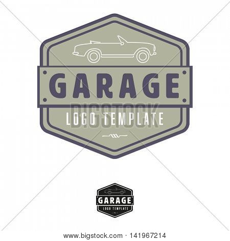 Garage logo template with vintage convertible car, icon