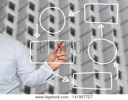 Hand of businessman drawing graphics a symbols geometric shapes graph to input information. concept of investment profit in business or management system. skyscraper background.