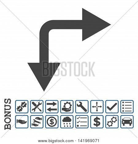 Bifurcation Arrow Right Down icon with bonus pictograms. Vector style is flat iconic symbol, cobalt and gray colors, white background. Bonus style is bicolor square rounded frames with symbols inside.