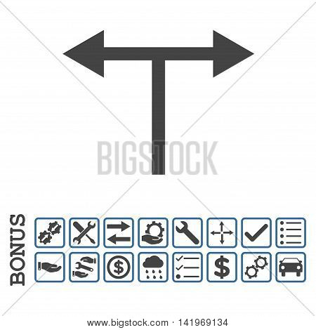 Bifurcation Arrows Left Right icon with bonus pictograms. Vector style is flat iconic symbol, cobalt and gray colors, white background.