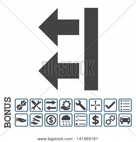 Bring Left icon with bonus pictograms. Vector style is flat iconic symbol, cobalt and gray colors, white background. Bonus style is bicolor square rounded frames with symbols inside.