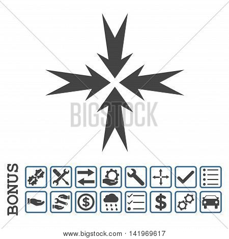 Compression Arrows icon with bonus pictograms. Vector style is flat iconic symbol, cobalt and gray colors, white background. Bonus style is bicolor square rounded frames with symbols inside.