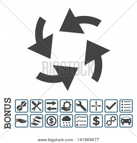 Cyclone Arrows icon with bonus pictograms. Vector style is flat iconic symbol, cobalt and gray colors, white background. Bonus style is bicolor square rounded frames with symbols inside.