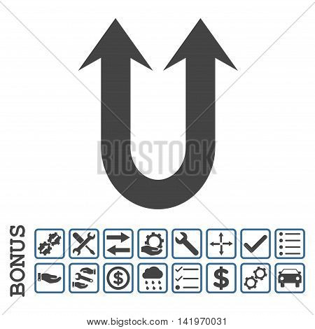 Double Forward Arrow icon with bonus pictograms. Vector style is flat iconic symbol, cobalt and gray colors, white background. Bonus style is bicolor square rounded frames with symbols inside.
