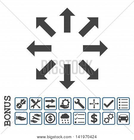 Explode Arrows icon with bonus pictograms. Vector style is flat iconic symbol, cobalt and gray colors, white background. Bonus style is bicolor square rounded frames with symbols inside.