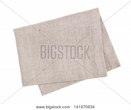 Linen fabric napkin isolated on white background
