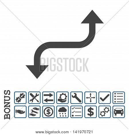 Opposite Curved Arrow icon with bonus pictograms. Vector style is flat iconic symbol, cobalt and gray colors, white background. Bonus style is bicolor square rounded frames with symbols inside.