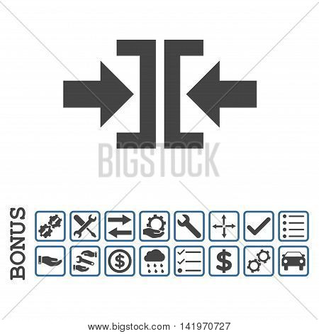Press Horizontal Direction icon with bonus pictograms. Vector style is flat iconic symbol, cobalt and gray colors, white background. Bonus style is bicolor square rounded frames with symbols inside.