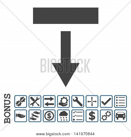 Pull Down icon with bonus pictograms. Vector style is flat iconic symbol, cobalt and gray colors, white background. Bonus style is bicolor square rounded frames with symbols inside.