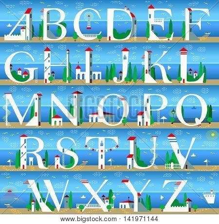 Summer Alphabet. Illustration. Travel font. Summer beach