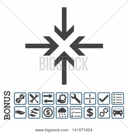 Reduce Arrows icon with bonus pictograms. Vector style is flat iconic symbol, cobalt and gray colors, white background. Bonus style is bicolor square rounded frames with symbols inside.