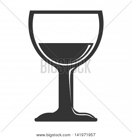 wine glass cup isolated flat icon design