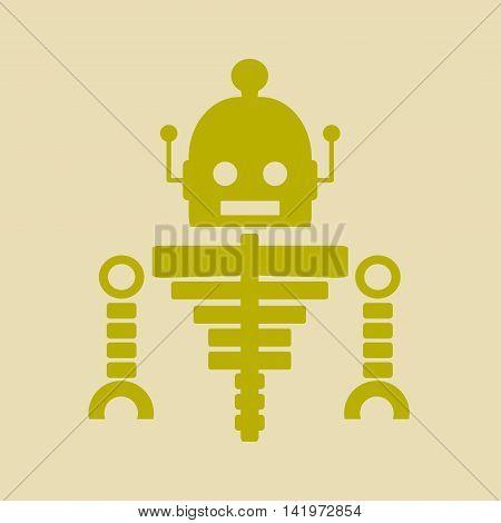 Cute vintage robot skeleton. Robotics industry relative image.