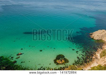 BALACLAVA CRIMEA. UKRAINE - JULY 26 2010: People swim in the sea for summer vacation
