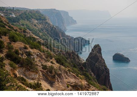 morning landscape of sea and mountains sunny day