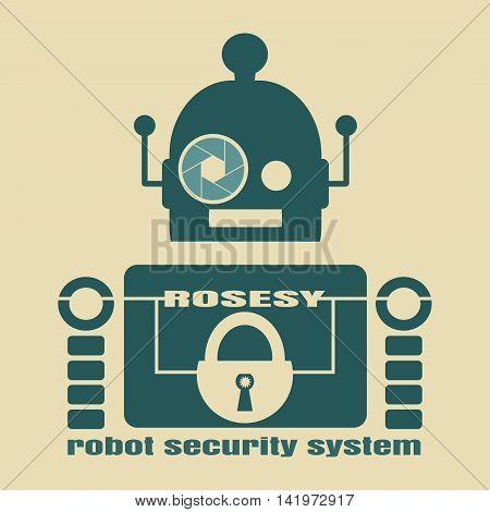 Funny security robot . ROSESY robot security system text. Robotics industry relative image. Aperture eye. Business company emblem