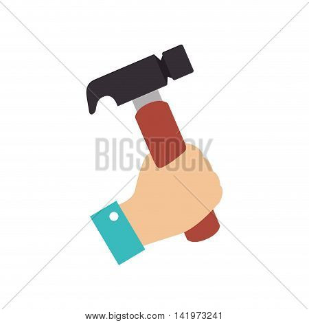 hammer hand repair tools storage vector graphic isolated and flat