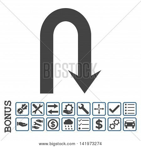 Turn Back icon with bonus pictograms. Vector style is flat iconic symbol, cobalt and gray colors, white background. Bonus style is bicolor square rounded frames with symbols inside.