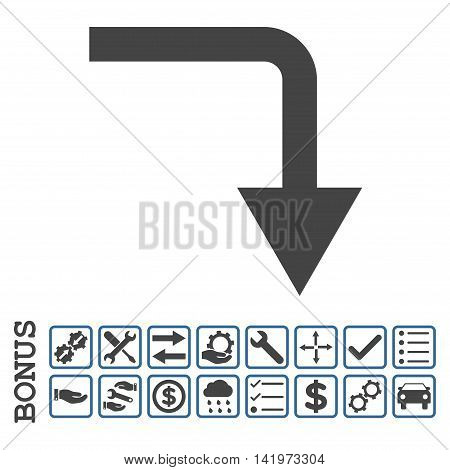 Turn Down icon with bonus pictograms. Vector style is flat iconic symbol, cobalt and gray colors, white background. Bonus style is bicolor square rounded frames with symbols inside.