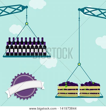 Cranes carrying crate of fresh grapes and wine bottles. Blue sky in the background. Blank ribbon for insert text.
