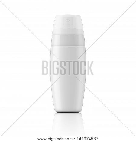 White plastic spray bottle template for protection or tanning oil, lotion, body milk. Ready for your design. Vector illustration.