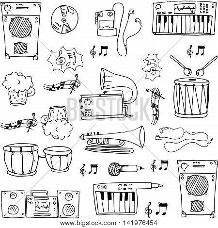 Hand draw music stock doodles vector stock