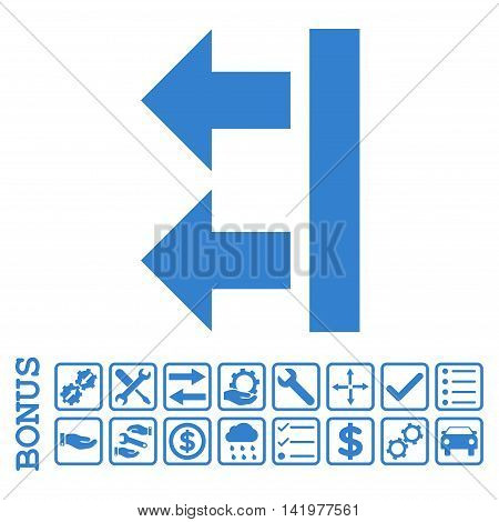 Bring Left icon with bonus pictograms. Vector style is flat iconic symbol, cobalt color, white background. Bonus style is square rounded frames with symbols inside.