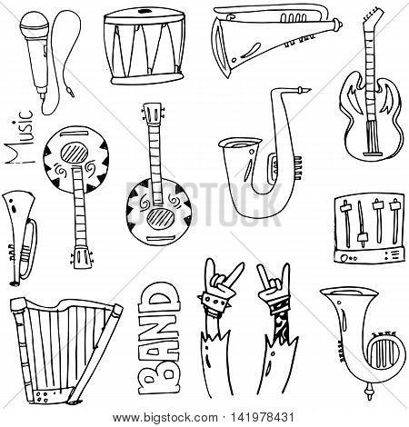 Doodle of element music stock collection vector art