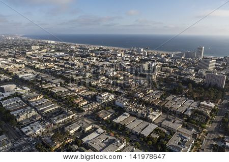 Santa Monica, California, USA - August 6, 2016:  Afternoon aerial view of downtown Santa Monica near the city of Los Angeles.