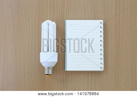Fluorescent Lamps placed near notebook on wooden background.