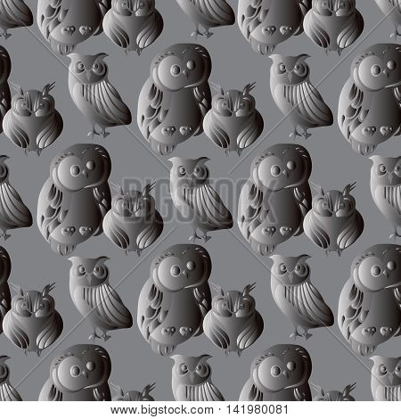 Modern seamless pattern background illustration with decorative volumetric grey owls. Luxury ornate 3d i decor elements with shadow and highlights