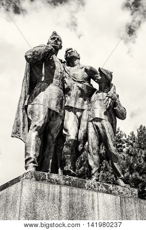 Statue of russian soldiers and the boy in Slavin. Memorial monument in Bratislava Slovak republic. Cultural heritage. Black and white photo. Architectural theme. Historical object.