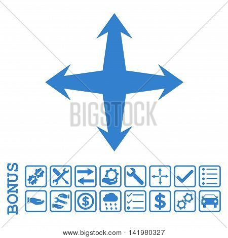 Expand icon with bonus pictograms. Vector style is flat iconic symbol, cobalt color, white background. Bonus style is square rounded frames with symbols inside.