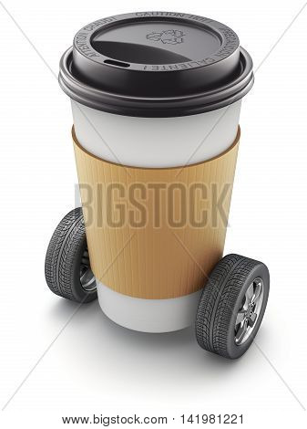 Take-out coffee in thermo cup on car wheels - 3D illustration