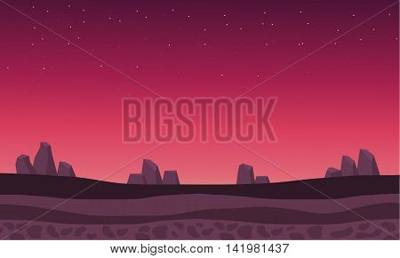 Beautiful backgrounds rock scenery at afternoon vector illustration