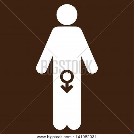 Male Impotence vector icon. Style is flat symbol, white color, rounded angles, brown background.