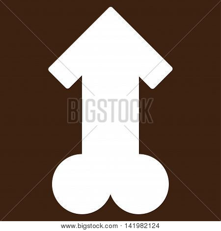 Male Sexual Potence vector icon. Style is flat symbol, white color, rounded angles, brown background.