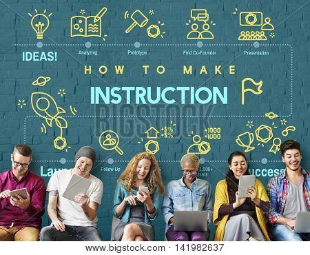 Instruction Document Guidebook Handbook Help Concept