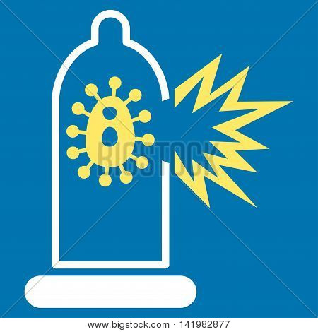 Damaged Condom With Virus vector icon. Style is bicolor flat symbol, yellow and white colors, rounded angles, blue background.