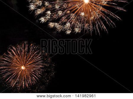 Colorful Fireworks In The Dark Night