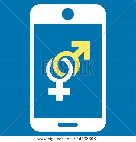 Mobile Dating vector icon. Style is bicolor flat symbol, yellow and white colors, rounded angles, blue background.