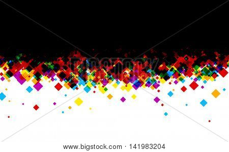 Black and white background with color rhombs. Vector paper illustration.