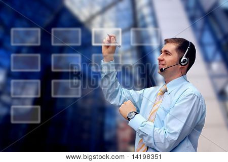 Business men in headphones writing on business architecture background