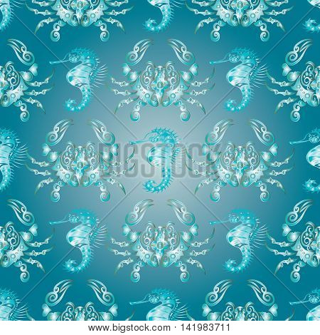 Vector seamless pattern background with elegant decorative crab and sea horse on the blue turquoise background.