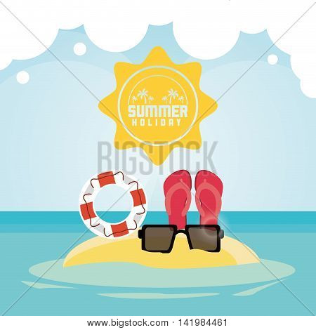 sandals float glasses summer holiday vacation icon. Colorfull and flat illustration. Vector graphic