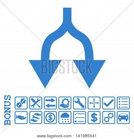 Split Arrows Down icon with bonus pictograms. Vector style is flat iconic symbol, cobalt color, white background. Bonus style is square rounded frames with symbols inside.